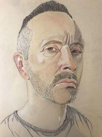 Mann, Portrait, Pastellmalerei, Malerei