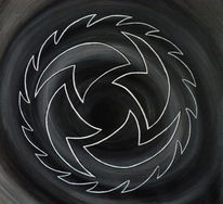 Sägeblatt, Acrylmalerei, Scharf, Schwarz weiß