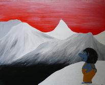 Landschaft, Ferne, Rot, Blick