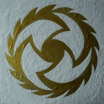 Acrylmalerei, Gold, Blätter, Spachteltechnik