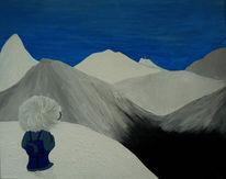 Berge, Schnee, Blau, Blick