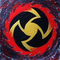 Gold, Rot schwarz, Sägeblatt, Horror