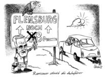Karikatur, Flensburg, Cartoon, Auto