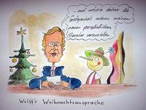 Karikatur, Cartoon, Wulff, Zeichnungen