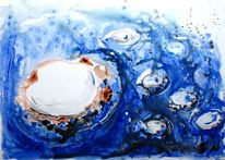 Blase, Aquarellmalerei, Insel, Abstrakt