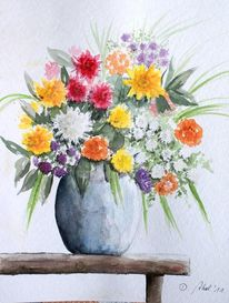 Blumen, Strauß, Stillleben, Bank