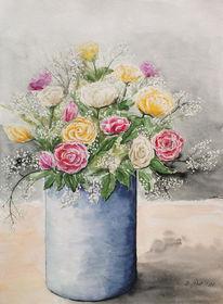 Blumenstrauß, Rosen, Blüten, Vase