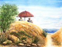 Urlaub, Sommer, Meer, Aquarellmalerei