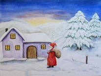 Baum, Abend, Weihnachtsmann, Schnee