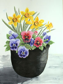 Osterglocken, Veilchen, Blumen, Blumentopf