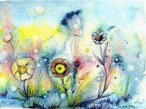 Wiese, Fantasie, Landschaft, Blumen