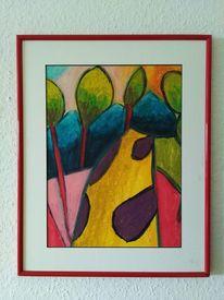 Baum, Weg, Feld, Malerei