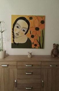 Mädchen, Blumen, Orange, Malerei