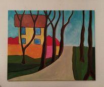 Himmel, Haus, Malerei, Landschaft