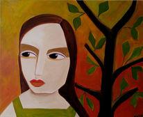 Baum, Frau, Glut, Malerei