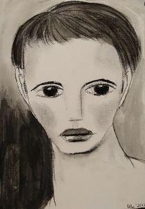 Schwarz, Angst, Kohlezeichnung, Zeichnungen