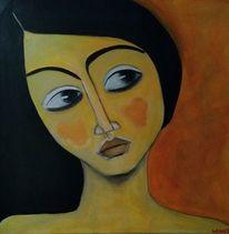 Schwarz, Orange, Mädchen, Malerei