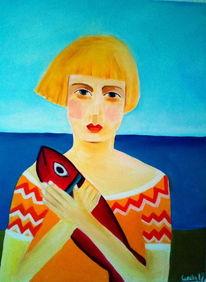 Mädchen, Meer, Fisch, Verlustangst