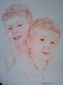 Geschwister, Zähne, Zeichnung, Portrait