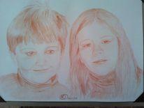 Rötel, Geschwister, Portrait, Zeichnung