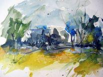Aquarellmalerei, Abstrakt, Landschaft, Aquarell