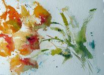 Nass, Aquarellmalerei, Skizze, Blumen