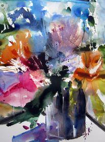 Malerei, Pflanzen, Blumen, Vase