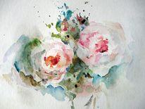 Blumen, Schicht, Aquarellmalerei, Nass