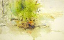 Nass, Pflanzen, Aquarellmalerei, Landschaft