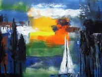 Malerei, Landschaft, Segelboot
