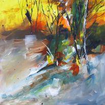 Acrylmalerei, Landschaft, Baum, Malerei