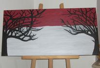 Grau, Baum, Rot schwarz, Malerei