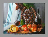 Konzept, Stillleben, Apfel, Malerei