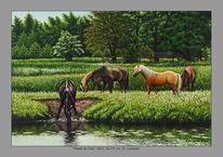 Malerei, Blätter, Sommer, Pferde