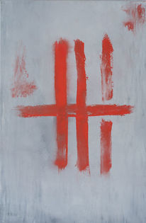 Strich, Rot, Grau, Malerei