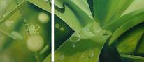 Tautropfen, Wasser, Blätter, Ölmalerei