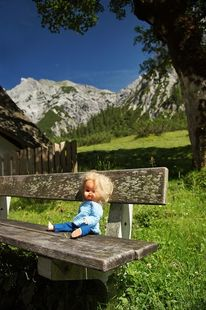 Bank, Berge, Puppe, Sommer