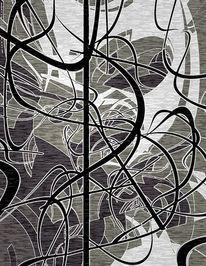 Digital, Abstrakt, Schwarzweiß, Digitale kunst