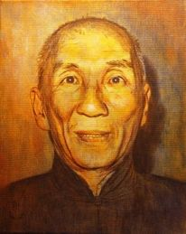 Portrait, Lasurtechnik, Alter mann, Malerei