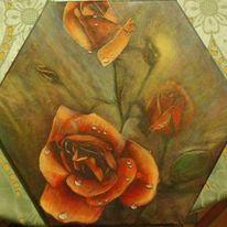 Rose, Lasurtechnik, Malerei, Wip