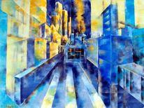 Farben, Gemälde, Blau, Abstrakt