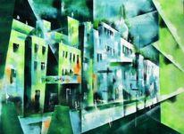 Straße, Kultur kunst, Acrylmalerei, Architektur