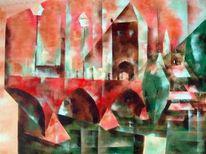 Moderne architektur, Gemälde, Bau, Acrylmalerei