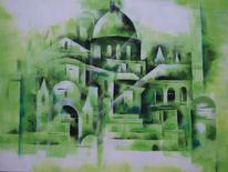 Acrylmalerei, Gasse, Modern, Burg
