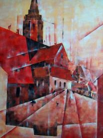 Acrylmalerei, Kathedrale, Moderne malerei, Architektur