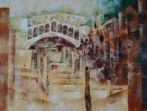 Moderne malerei, Rialto brücke, Wasser, Expressionismus