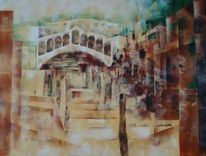 Rialto brücke, Moderne malerei, Acrylmalerei, Wasser