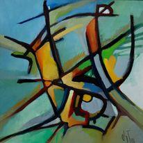 Abstrakter expressionismus, Ölmalerei, Birotic art, Gras