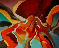 Gras, Ölmalerei, Birotic art, Herbst