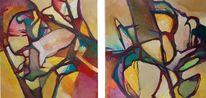 Abstrakter expressionismus, Gras, Farben, Feucht